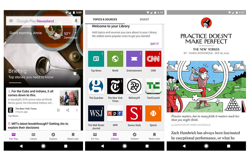 Google Play newsstand apps