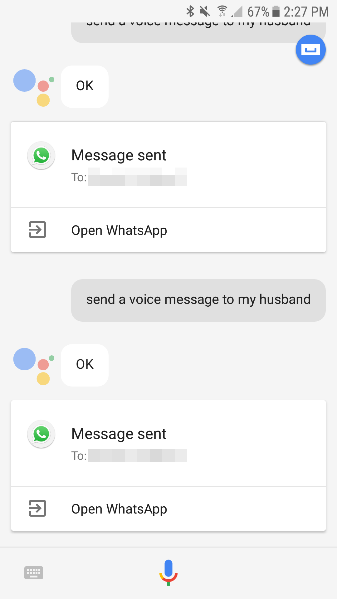 Ok Google Whatsapp