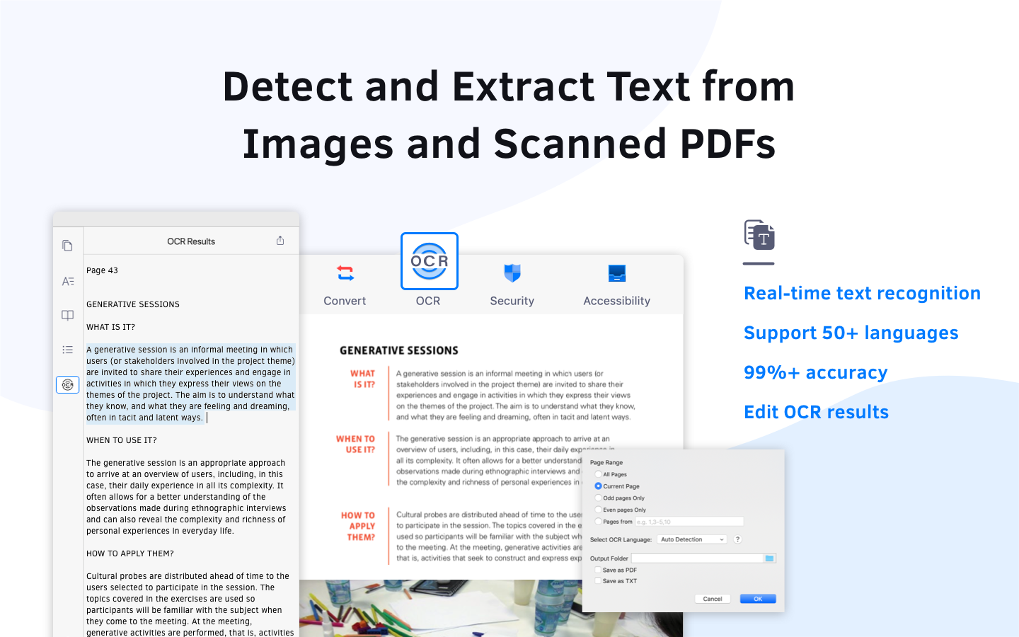Detect and extract text from image