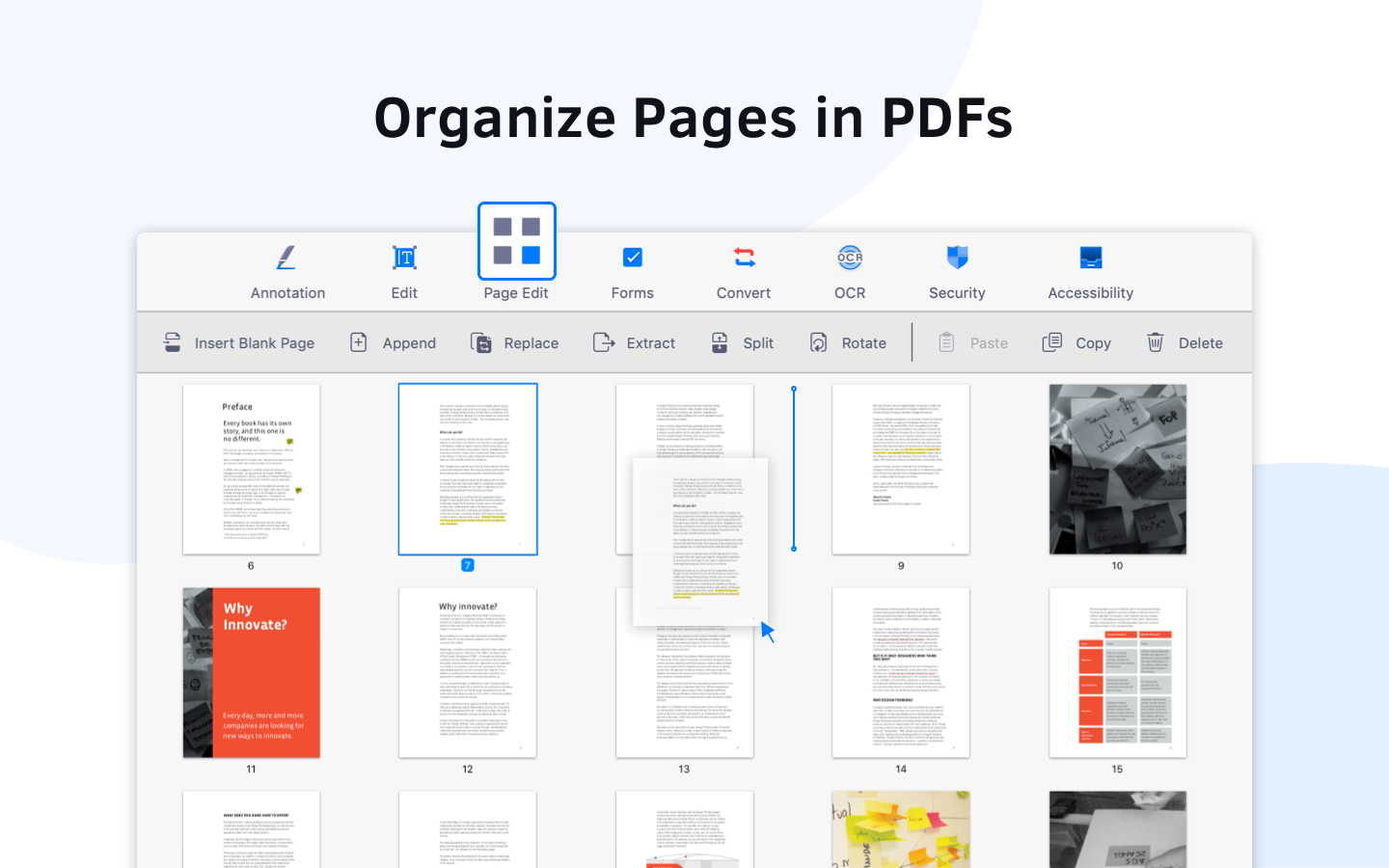 Organize pages in PDFs