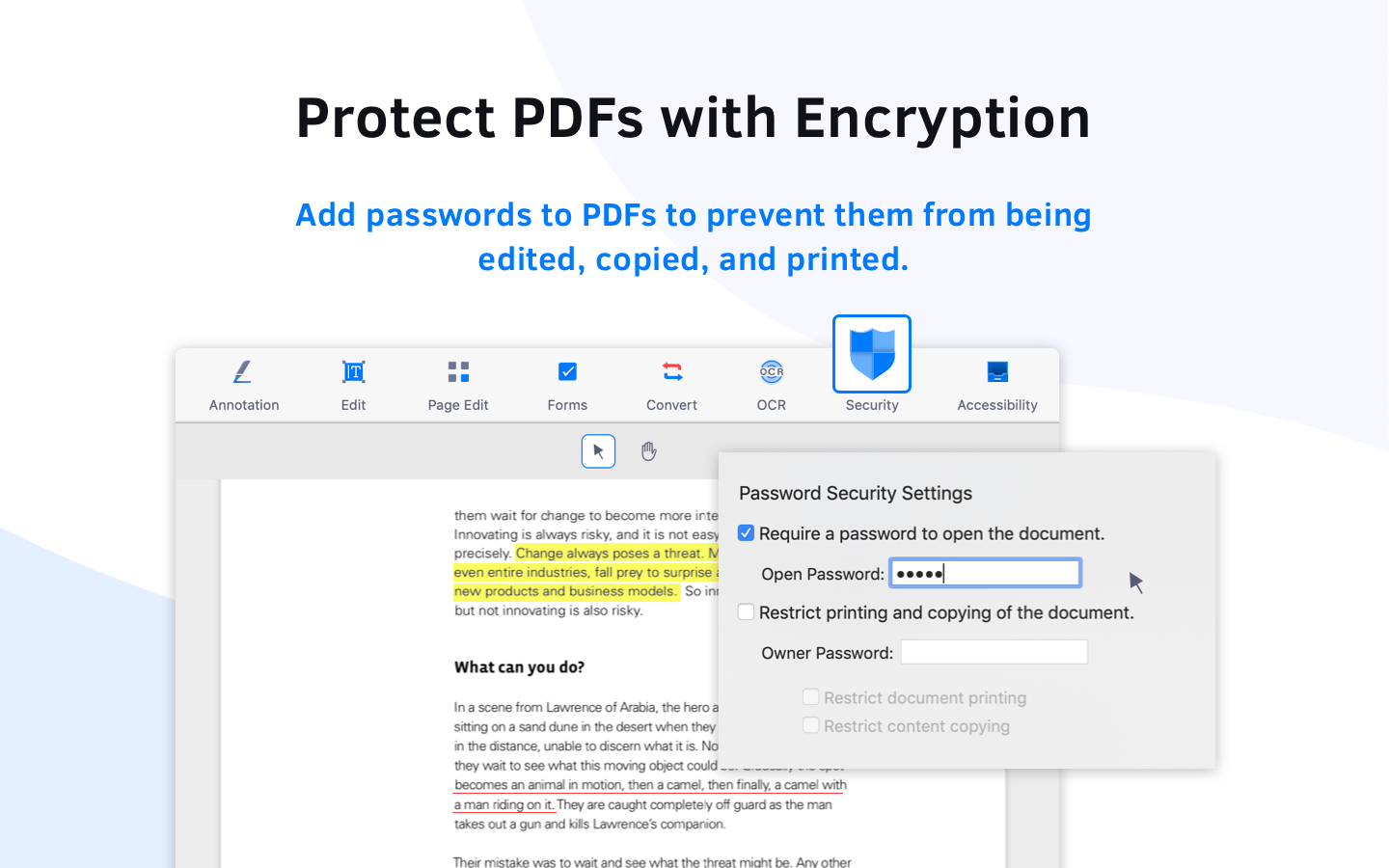 Protect PDF with encryption