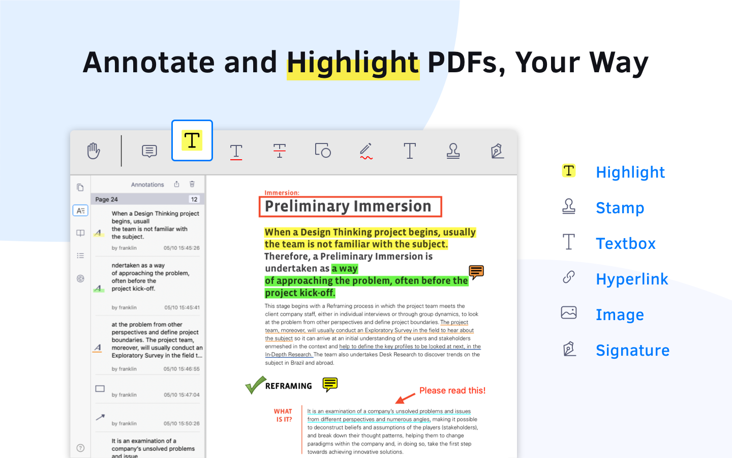 annotate and highlight PDF