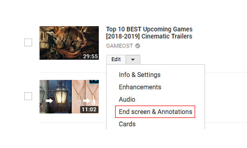 Add an End Screen for the Promotion of Content