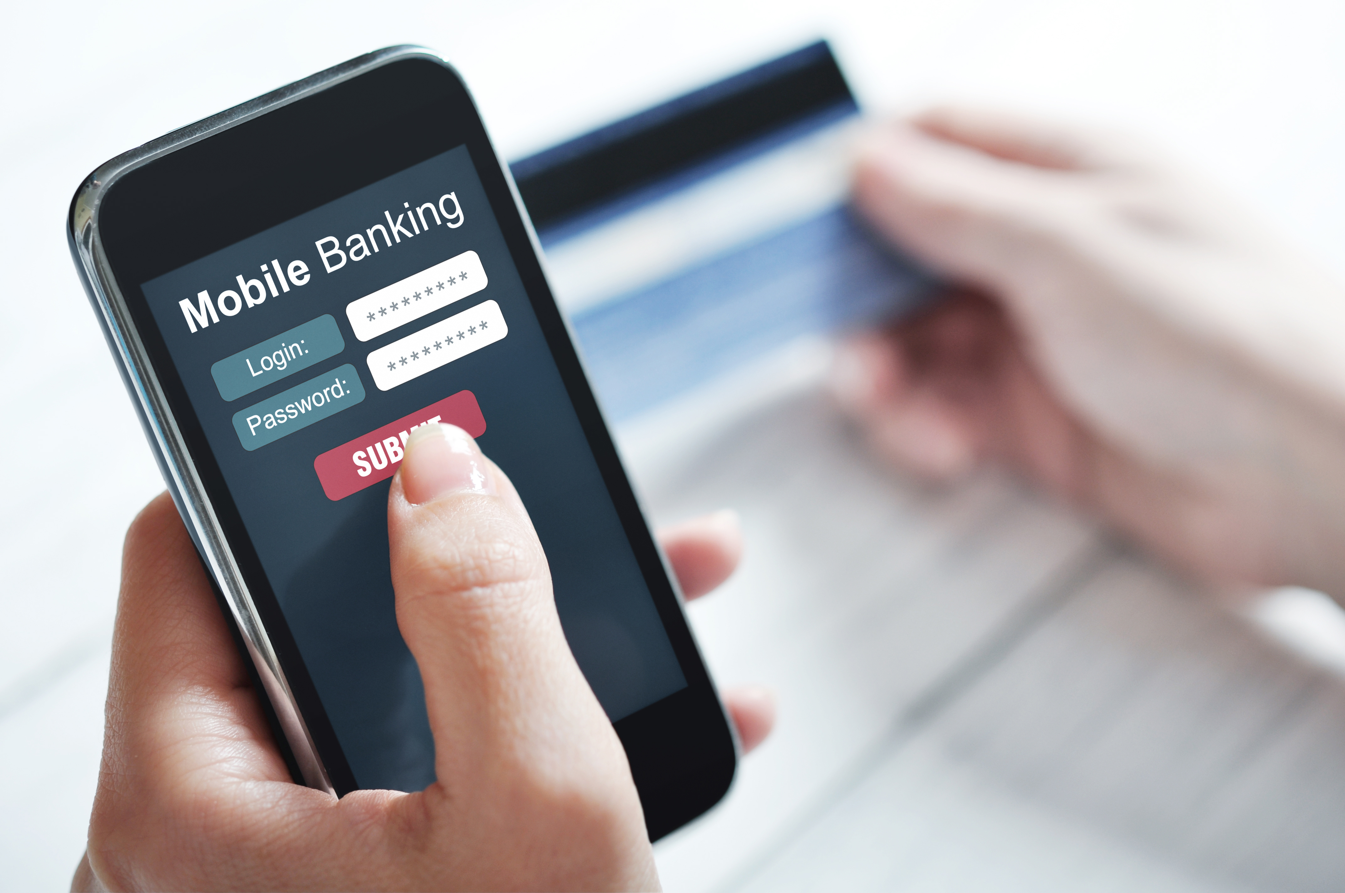 mobile banking, mobile security, Female hands using mobile banking on smart phone