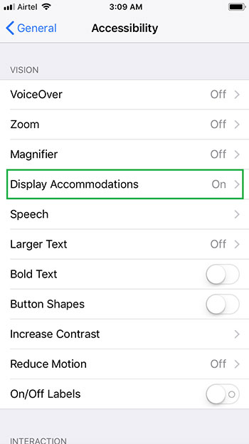 display accomodation