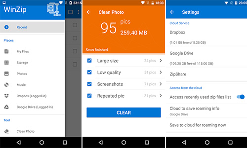 open zip file without password android