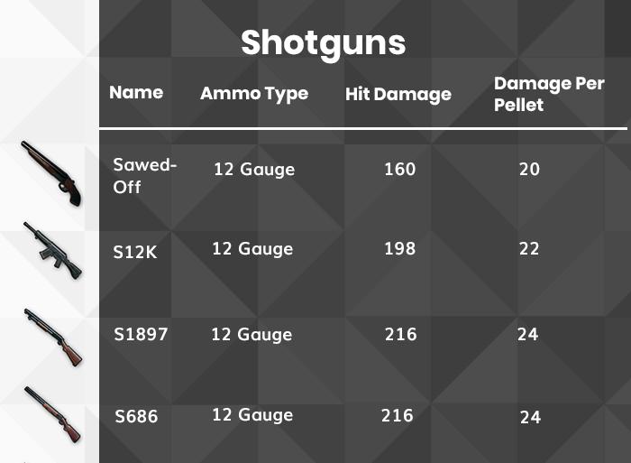 PUBG Shotgun list
