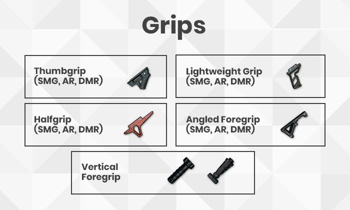 PUBG Gun Grips list