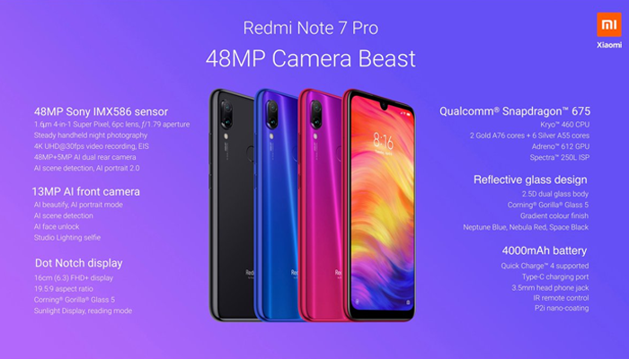 Specifications of Redmi Note 7 Pro