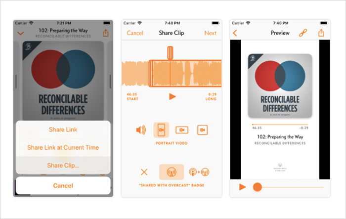 audio or video clips share feature in Overcast app
