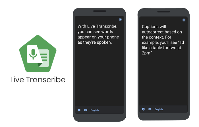 Live Transcribe app interface