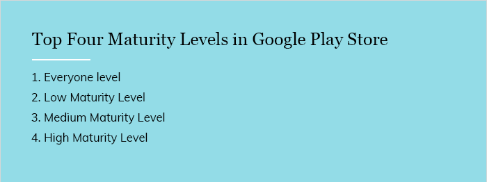 Top Four Maturity Levels in Google Play Store