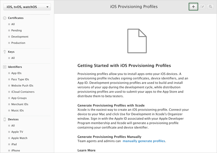 Creating A Production Provisioning Profile†