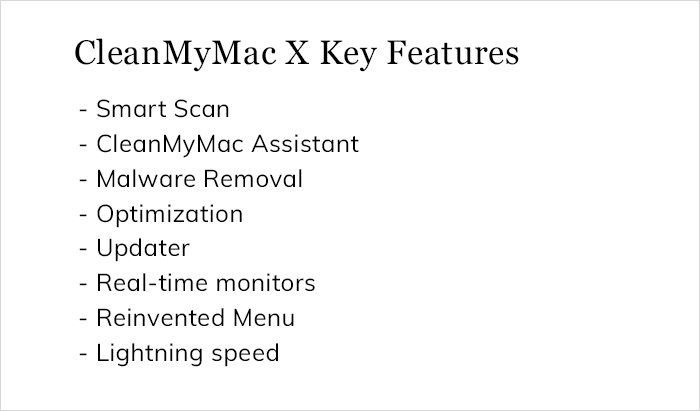 CleanMyMac X Key Features