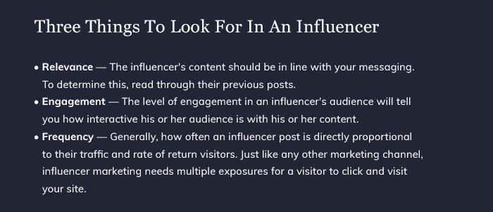 Three Things To Look For In An Influencer