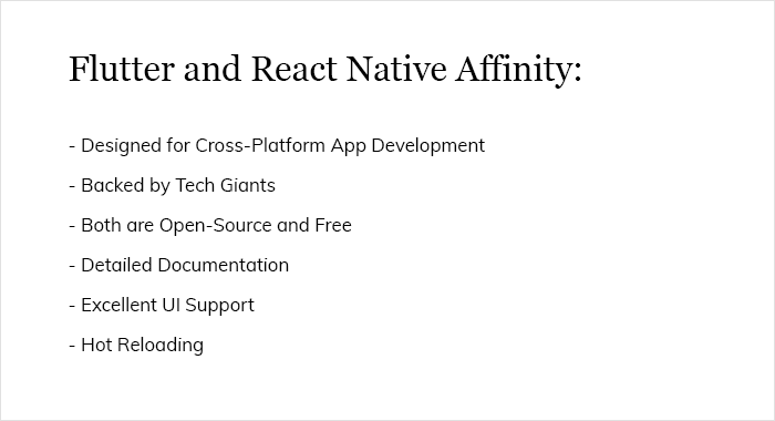 Flutter and React Native Affinity: