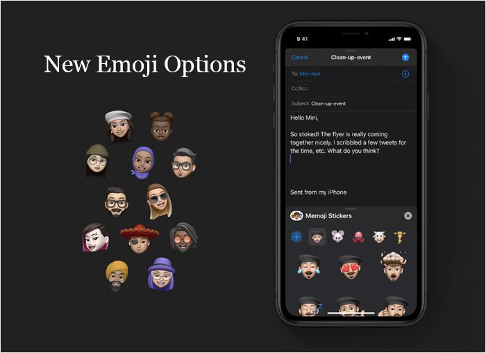 Left (New Memoji Options) Right (New Emoji Options)
