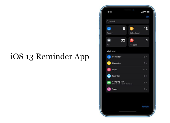 iOS 13 Reminder App