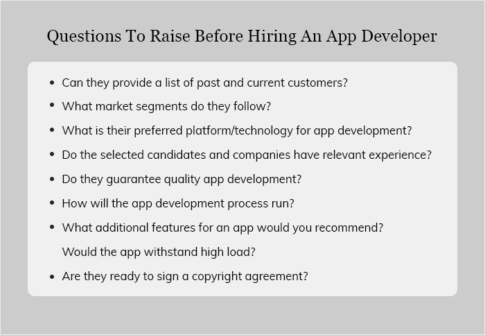 Questions To Raise Before Hiring An App Developer