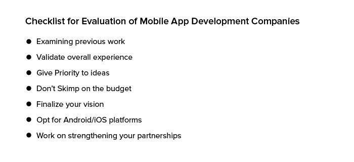 Checklist for Evaluation of Mobile App Development Companies