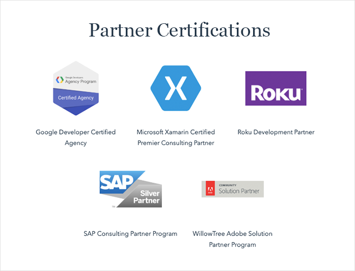 WillowTree holds Partner certifications